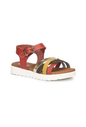 Polaris 71.509162.P Kırmızı Kız Çocuk Deri Sandalet