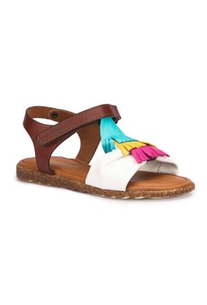 Polaris 71.509293.F Beyaz Kız Çocuk Deri Basic Sandalet