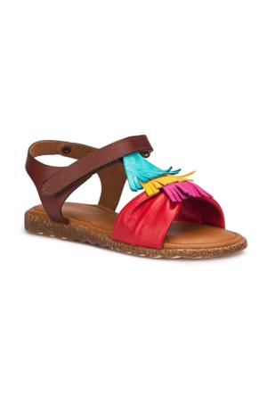 Polaris 71.509293.F Kırmızı Kız Çocuk Deri Basic Sandalet