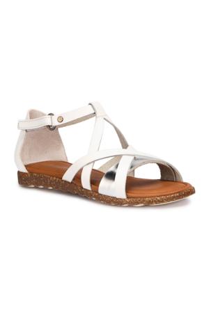 Polaris 71.509288.F Beyaz Kız Çocuk Deri Basic Sandalet