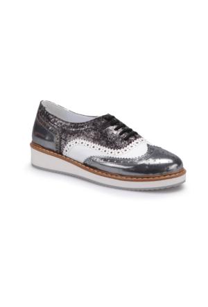 Butigo S1037 Siyah Gümüş Kadın Maskulen Ayakkabı