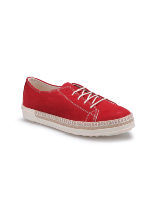 Butigo S794 Kırmızı Kadın Sneaker Ayakkabı Kalin Taban Keten