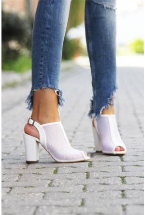 İnce Topuk File Topuklu Ayakkabı