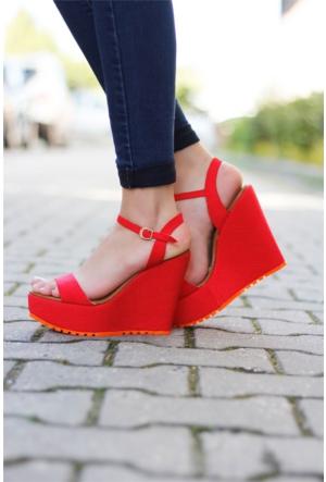 İnce Topuk Bilekten Bağlama Dolgu Topuk Ayakkabı