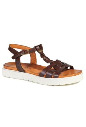 Desa Selena Kadın Deri Sandalet Kahverengi