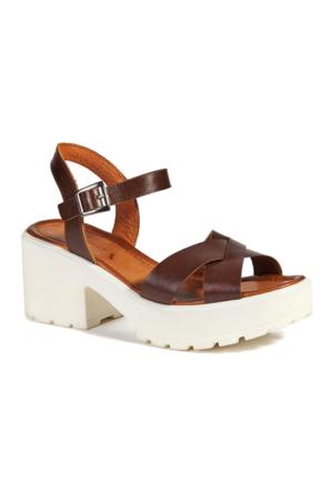 Desa Regina Kadın Deri Sandalet Kahverengi