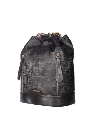 Cengiz Pakel Kadın Sırt Çantası Cp7137 Siyah Desenli