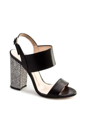 Cabani Topuklu Günlük Kadın Ayakkabı Sıyah Deri