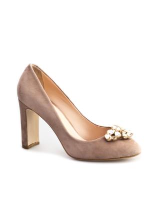 Cabani Taş Süslemeli Topuklu Günlük Kadın Ayakkabı Vizon Süet
