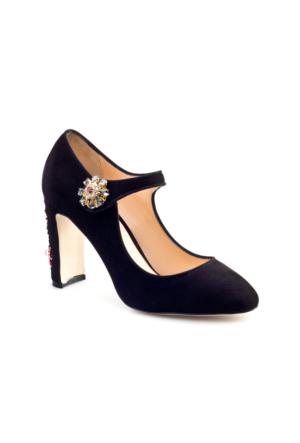 Cabani Taş Süslemeli Günlük Kadın Ayakkabı Siyah Süet