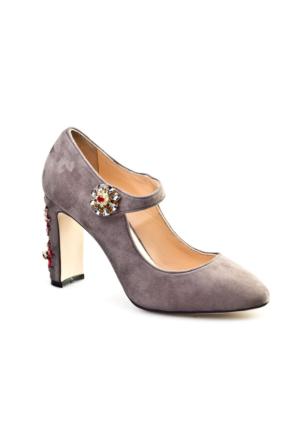 Cabani Taş Süslemeli Günlük Kadın Ayakkabı Duman Süet