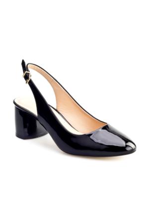Cabani Tokalı Topuklu Günlük Kadın Ayakkabı Siyah Rugan