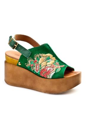 Cabani Nakışlı Günlük Kadın Sandalet Yeşil Süet