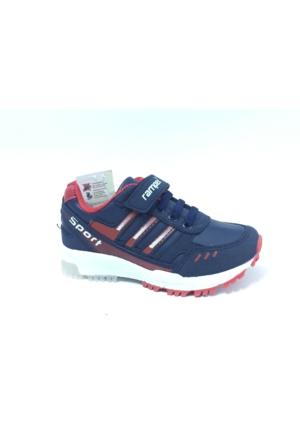 Rampex Lacivert Kırmızı Cırtlı Çocuk Spor Ayakkabı