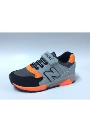 Rampex Siyah Buz Turuncu Cırtlı Çocuk Spor Ayakkabı