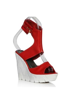 UK Polo Club P64709 Kadın Topuklu Sandalet - Kırmızı