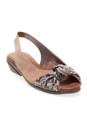 Frau Pitone Taupe 57C5 Nabuk Sandalet