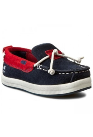 Timberland Navy Wıth Red 2385A Ek Casco Bay Slip On Boat Ayakkabı