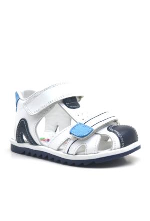 Nino® Cırtlı Ortopedik Mavi Erkek Bebek Sandalet