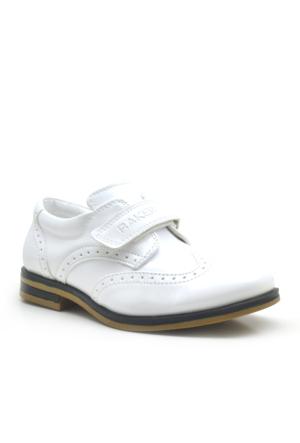 Raker ® Beyaz Rugan Cırtlı Klasik Erkek Çocuk Sünnet Ayakkabısı