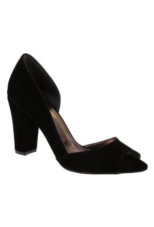 Shalin Szr Anna Siyah Süet Kadın Topuklu Ayakkabı