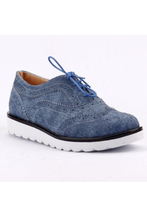 Armoni 44 Kot Cilt Bağcıklı Günlük Bayan Oxford Babet Ayakkabı