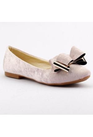 Ccway 2002 Papyonlu Kadife Günlük Bayan Babet Ayakkabı