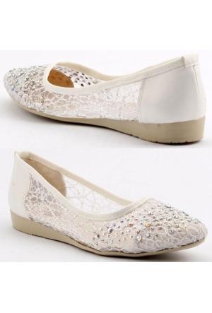 Femin 1500 Tüllü Taşlı Gelin Abiye Bayan Babet Ayakkabı