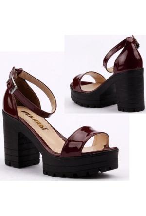 Venardi Günlük Abiye Platform 9,5 cm Topuklu Bayan Sandalet Ayakkabı