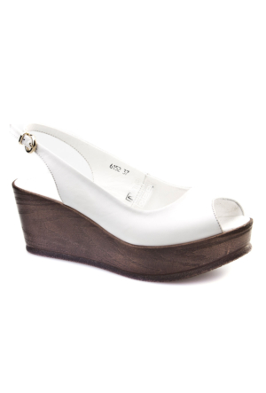 Cabani Dolgu Topuk Günlük Kadın Sandalet Beyaz Deri