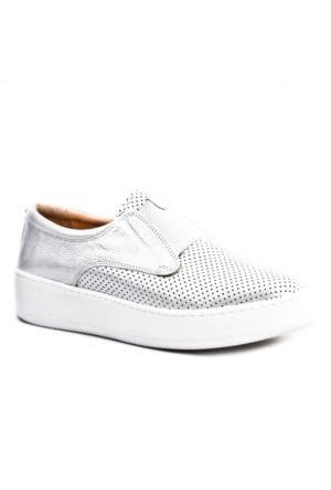 Cabani Bağcıksız Sneakers Günlük Kadın Ayakkabı Gri Deri