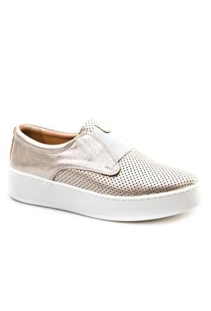 Cabani Bağcıksız Sneakers Günlük Kadın Ayakkabı Kum Deri