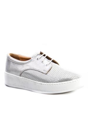 Cabani Bağcıklı Sneakers Günlük Kadın Ayakkabı Gri Deri