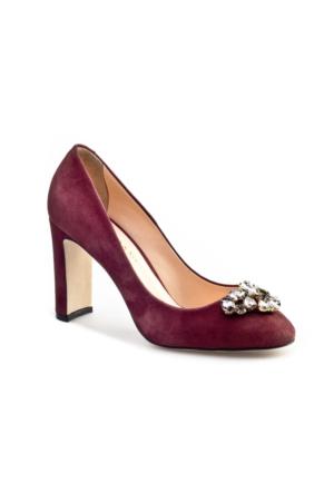 Cabani Taş Süslemeli Topuklu Günlük Kadın Ayakkabı Bordo Süet