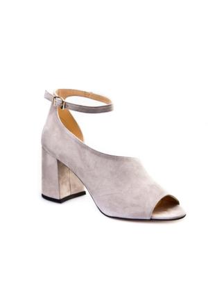 Cabani Tokalı Yan Dekolte Günlük Kadın Ayakkabı Gri Deri