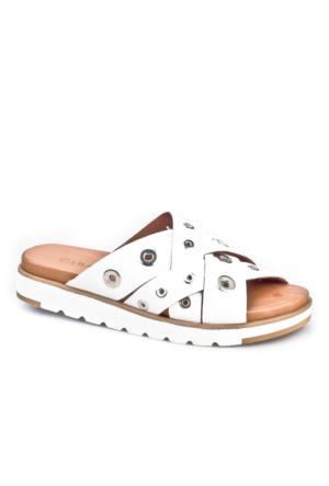 Cabani Çapraz Bağ Zımbalı Günlük Kadın Sandalet Beyaz Deri