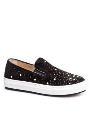 Cabani Yıldızlı Süslü Sneakers Günlük Kadın Ayakkabı Siyah Süet