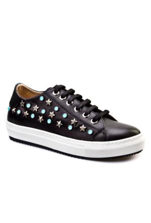 Cabani Yıldız Zımbalı Sneakers Günlük Kadın Ayakkabı Siyah Deri