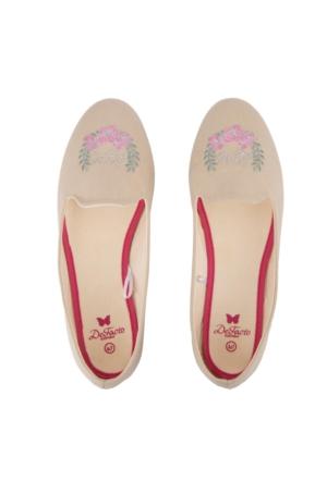DeFacto Kadın İşlemeli Makosen Ayakkabı Bej