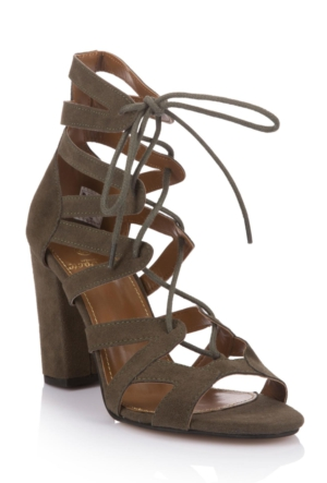 DeFacto Kadın Yüksek Topuklu Bağcıklı Sandalet Yeşil