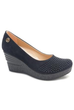 Fantasy Siyah Nubuk Dolgu Topuk Ayakkabı