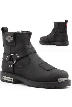 Jump 14507-B %100 Deri Motorcu Çizme Erkek Bot Ayakkabı