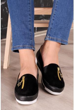 Kırmızı Pabuç Fermuarlı Ayakkabı 02 - Siyah