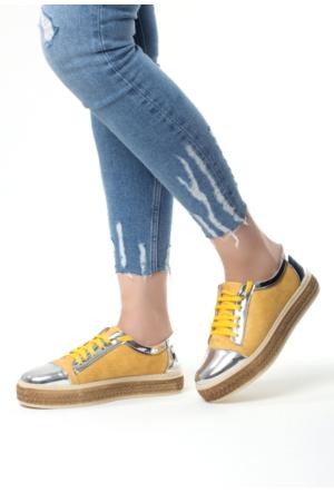 Erbilden Beh Hardal Sarısı Gümüş Detaylı Bağcıklı Bayan Spor Babet Ayakkabı