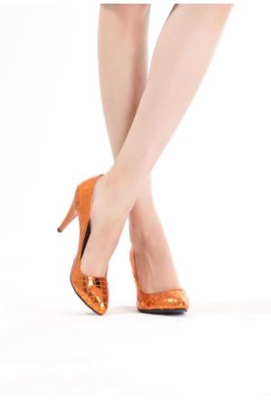 Erbilden Erb Turuncu Desenli Bayan Topuklu Ayakkabı