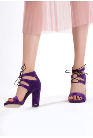 Erbilden Erb Mor Süet Bilekten Bağlamalı Bayan Topuklu Ayakkabı
