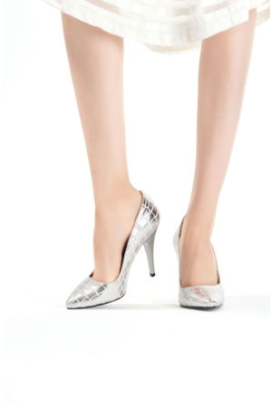 Erbilden Erb Gümüş Desenli Bayan Stiletto Ayakkabı