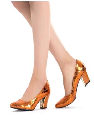 Erbilden Erb Turuncu Desenli Bayan Kısa Topuk Ayakkabı
