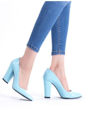Erbilden Erb Açık Mavi Rugan Bayan Kalın Topuklu Ayakkabı