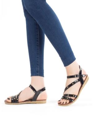 Erbilden İfs Siyah Rugan Boncuklu Bayan Sandalet Ayakkabı